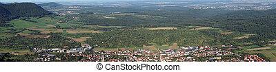 Owen town in green valley near castle Teck. Germany