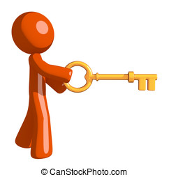 Orange Man Inserting Key