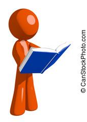 Orange Man Standing Reading Book