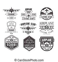 Monochrome Airplane Club Emblems - Monochrome Airplane Club...