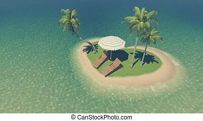 Heart shaped tropical island Aerial - Top-down view on a...