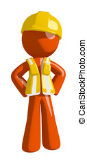 Orange Man Construction Worker  with Hands on Hips