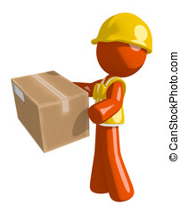 Orange Man Construction Worker  Delivering a Package