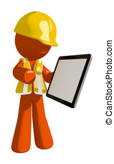 Orange Man Construction Worker Showing Electronic Computer Tablet to Viewer