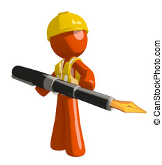 Orange Man Construction Worker