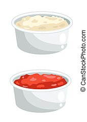 Ketchup and mayonnaise in bowls - Sauce set, Ketchup and...