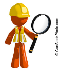 Orange Man Construction Worker  Holding Magnifying Glass