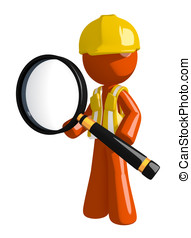 Orange Man Construction Worker  Standing with Magnifying Glass