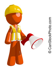 Orange Man Construction Worker  Holding Megaphone and Standing