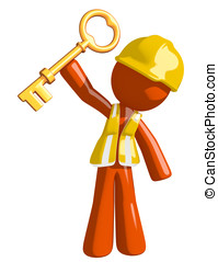 Orange Man Construction Worker  Holding Up Key to Success