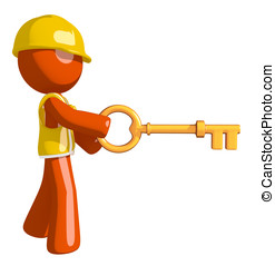Orange Man Construction Worker  Inserting Key