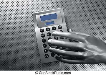 business futuristic silver hand calculator - business...