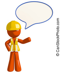 Orange Man Construction Worker  Word Bubble