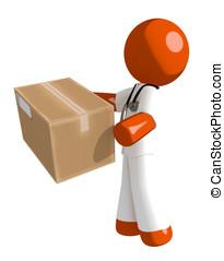 Orange Man Doctor Delivering a Package