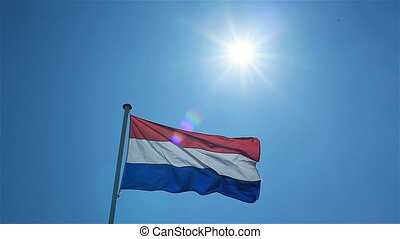 Flag of Netherlands waving in wind