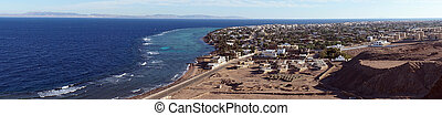 Dahab and Red sea - Panorama of Dahab and coast of Red sea...