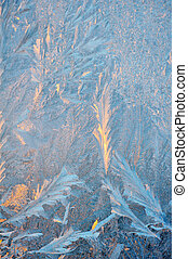 Ice patterns on winter glass - Ice patterns and evening...