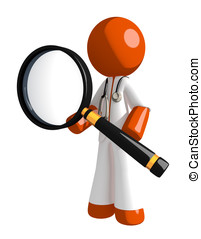 Orange Man Doctor Standing with Magnifying Glass