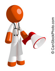 Orange Man Doctor Holding Megaphone and Standing