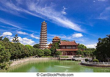 Temple of Xichan in Fuzhou - Chinese Pagoda of Xichan temple...
