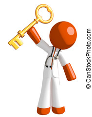 Orange Man Doctor Holding Up Key to Success