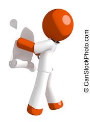 Orange Man Doctor Reading Schematic