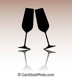 Sparkling champagne glasses. - Conceptual vector...