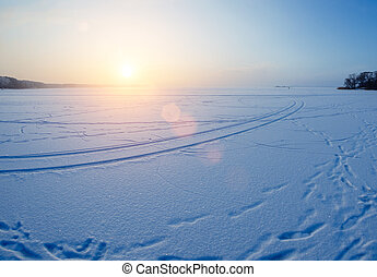 Sunset On The Lake - Beautiufl sunset on the frozen lake in...