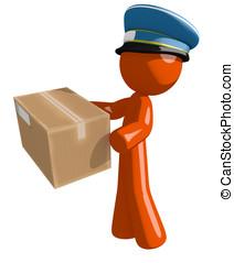 Orange Man Postal Mail Worker Delivering a Package