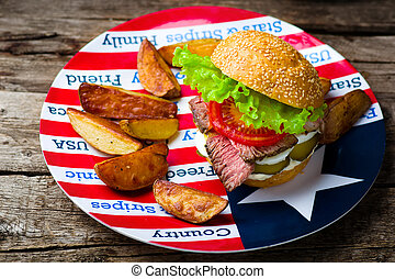 sandwich with roast beef and vegetables