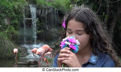 Teen Girl at Cascade with Flamingos