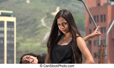 Silly Photobomb of Teen Girl