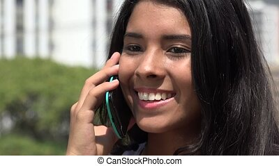 Teen Girl Talking on Cell Phone