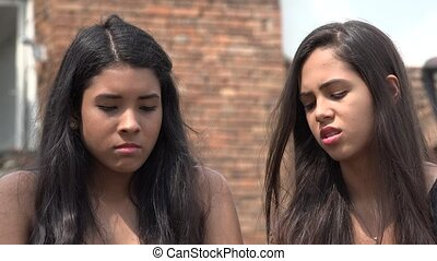 Sad Teen Hispanic Girls