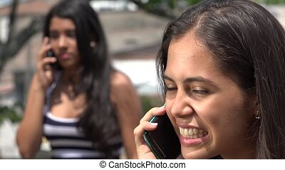 Teen Girls Arguing on Cell Phone