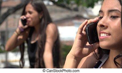 Teen Girls Arguing on Cell Phone