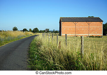 Road and shed