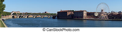 Panorama of Garonne river - Panorama of arch brick bridge...