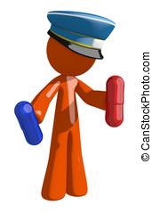 Orange Man Postal Mail Worker Holding Pills - Orange Man...