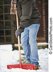 Close Up Of Man Clearing Snow From Path