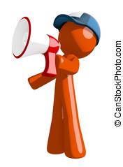 Orange Man Postal Mail Worker Shouting in Bullhorn