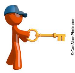Orange Man Postal Mail Worker Inserting Key