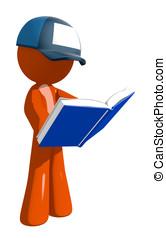Orange Man Postal Mail Worker Standing Reading Book