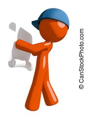 Orange Man Postal Mail Worker Reading Schematic