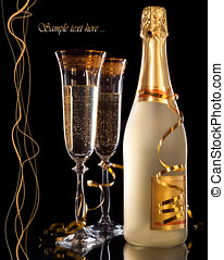 anteojos, champaña, botella