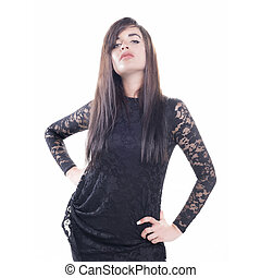 Isolated model with black dress