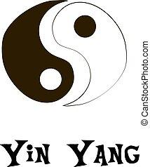 Buddhist symbol of yin yang. Chinese symbol