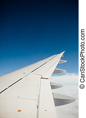 wing of airplane with copy-space
