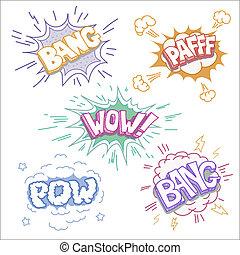 Boom bang and wow Comic book explosion set - Boom bang and...