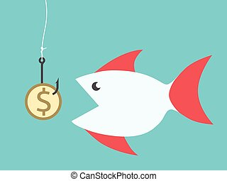 Fish eating dollar bait - Big fish eating golden dollar coin...